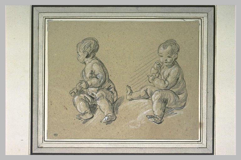Deux études d'enfant nu, assis