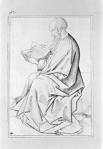 Etude de la figure d'un évangéliste assis