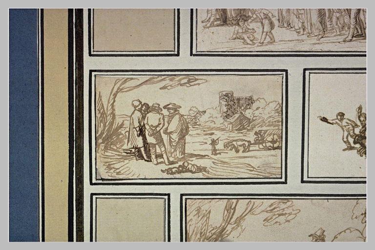 Paysage avec quatre figures conversant, et un chariot à boeufs