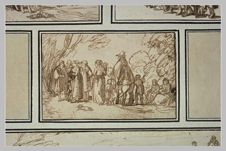 Groupe de figures debout et un homme à cheval dans une clairière