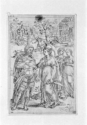 Un guerrier s'entretenant avec une femme accompagnée de ses deux servantes