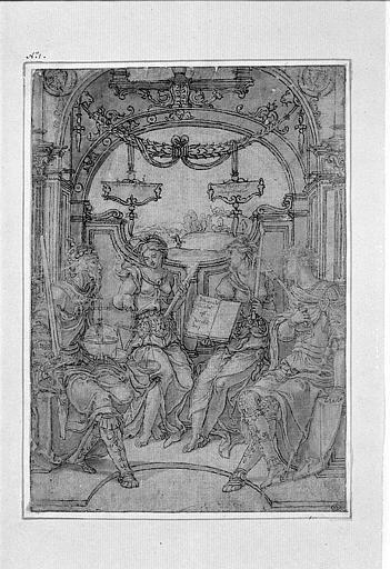 Deux rois assis avec la Justice et la Sagesse