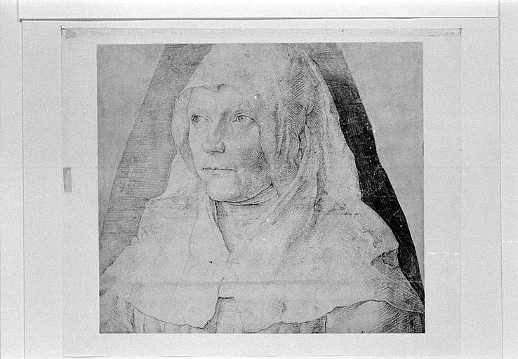Portrait de femme, la tête couverte d'une coiffe blanche
