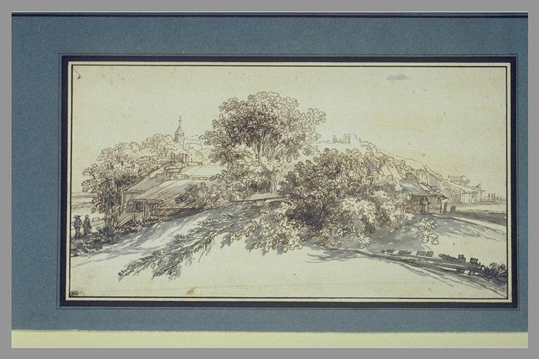 REMBRANDT Harmensz van Rijn (manière de) : Groupe de maisons en bois parmi des arbres
