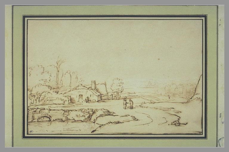 REMBRANDT Harmensz van Rijn (manière de) : Paysage avec étang et chaumières