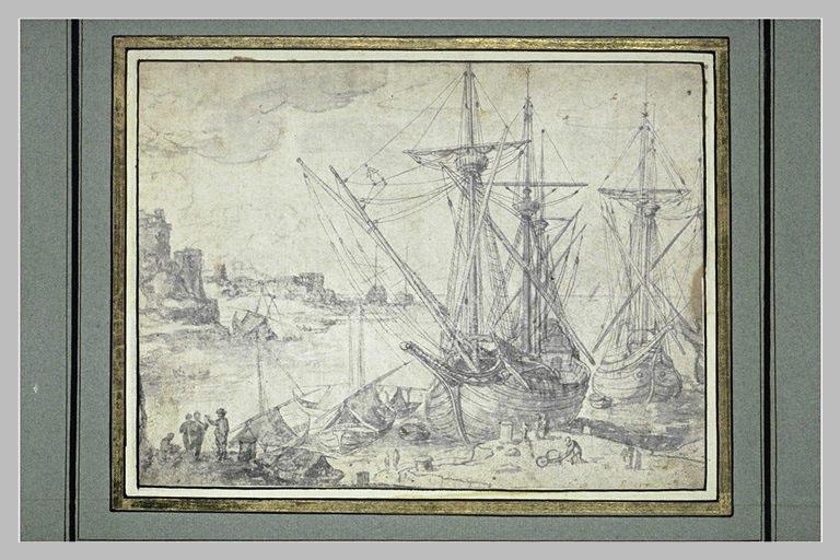 Port de mer avec vaisseaux et figures_0