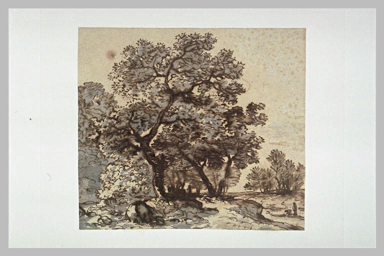 Paysage boisé, avec deux figures sur la droite