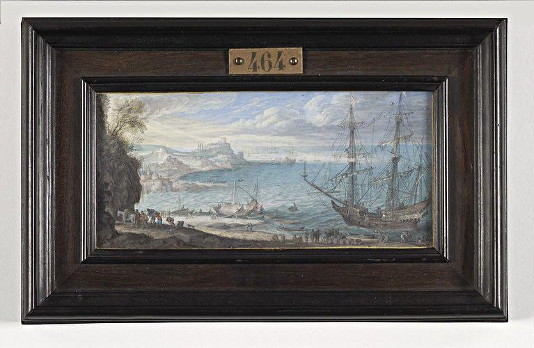 BAUR Johann Wilhelm : Marine : un vaisseau à l'ancre et des matelots débarquant des marchandises