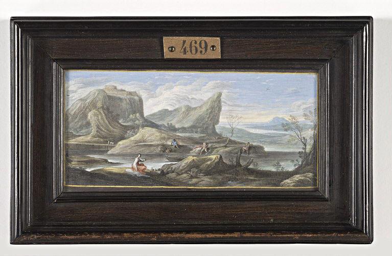 BAUR Johann Wilhelm, CARRACCI Annibale (inspiré par) : Baigneurs au bord d'une rivière coulant entre des rochers