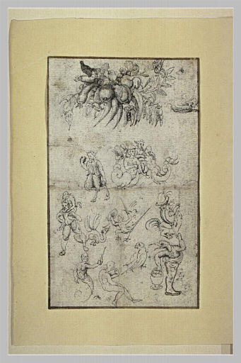 Naïades, satyre, mousquetaire, triton, homme à tête d'oiseau, légumes