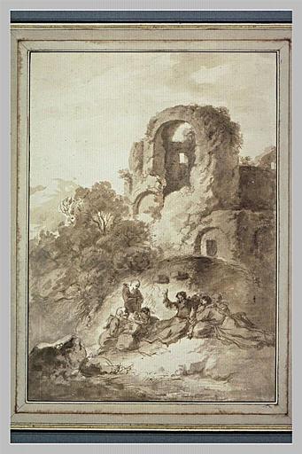 Paysage avec saint François d'Assise prêchant