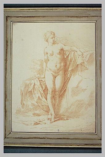 Figure de femme nue, debout, de face,la tête tournée vers la droite