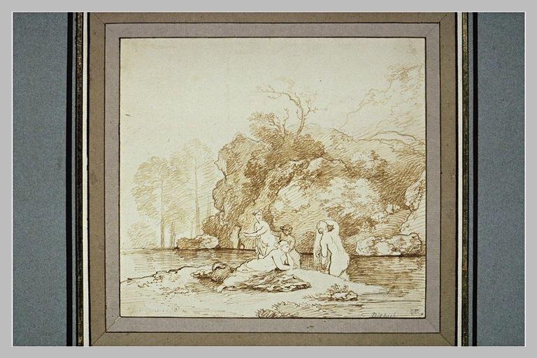 Bord de rivière avec quatre femmes au bain