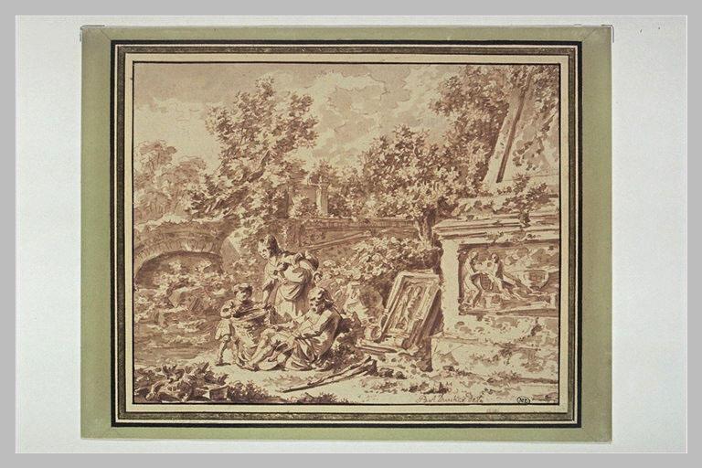 Paysage avec un monument, un homme assis, une femme et un enfant