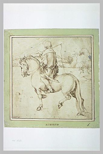 Cavalier oriental, de dos, se dirigeant vers la gauche, tenant un fouet