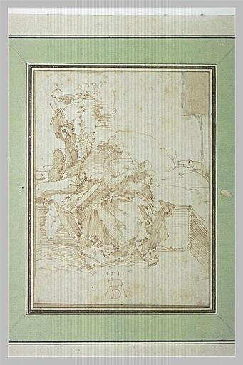 Vierge assise avec l'Enfant Jésus sur ses genoux, dans un paysage