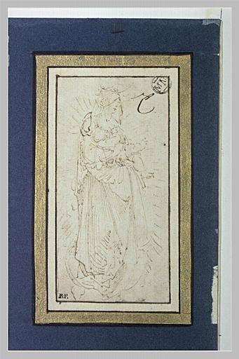 Vierge à l'Enfant sur un croissant de lune, en gloire