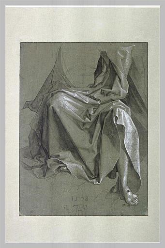 Draperie couvrant les genoux et le torse d'un Christ assis