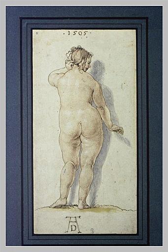 Une grosse femme nue, de dos