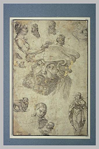 Feuille de douze études tirées de gravures de Dürer