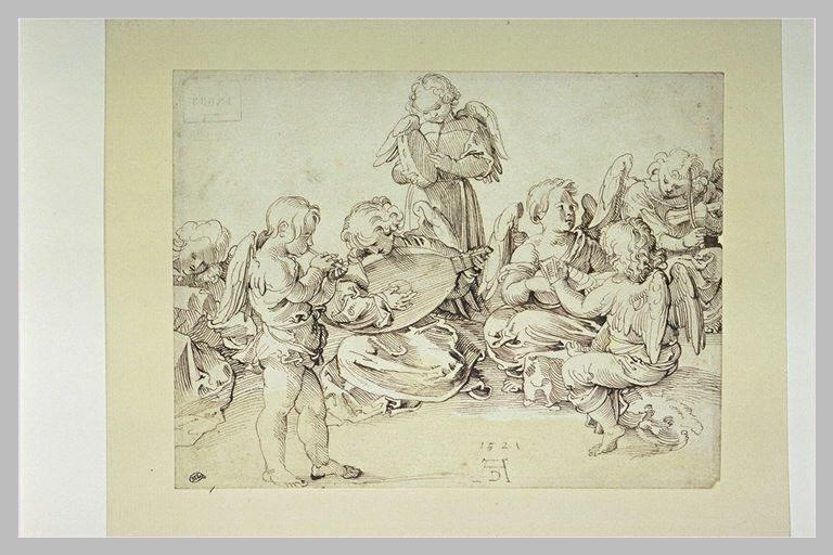 Groupe de sept anges jouant de la musique