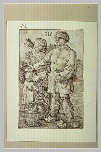Un paysan et une paysanne vendant des volailles et des oeufs