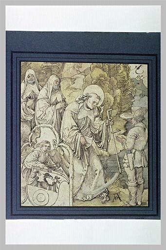 Saint Benoît rendant à un paysan sa faux qui était tombée dans l'eau