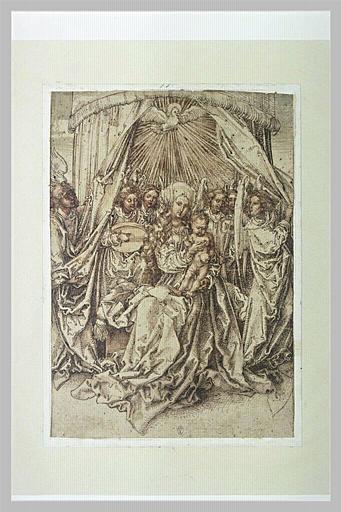 Vierge à l'Enfant trônant sous un baldaquin, entourée de six anges
