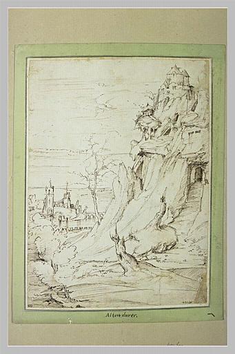 Paysage avec un château au sommet d'un roc escarpé