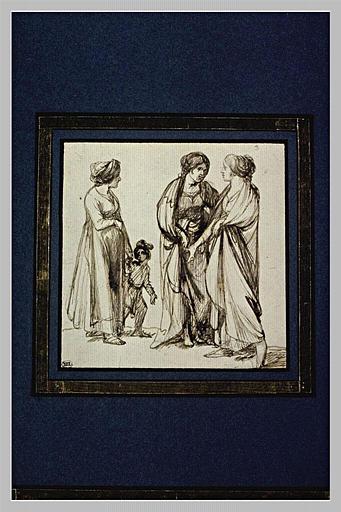 Trois femmes debout, l'une tenant un enfant par la main