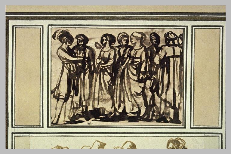 Groupe de huit figures debout
