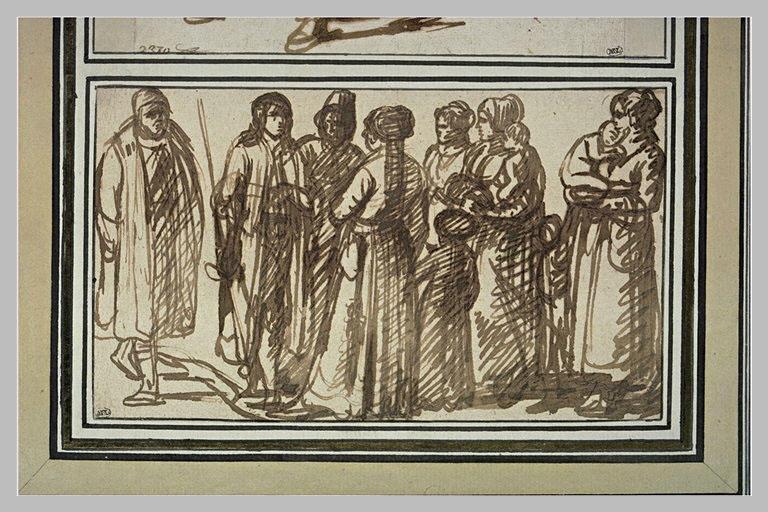 Groupe de trois hommes et quatre femmes