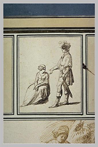 Un homme debout s'adressant à une femme assise