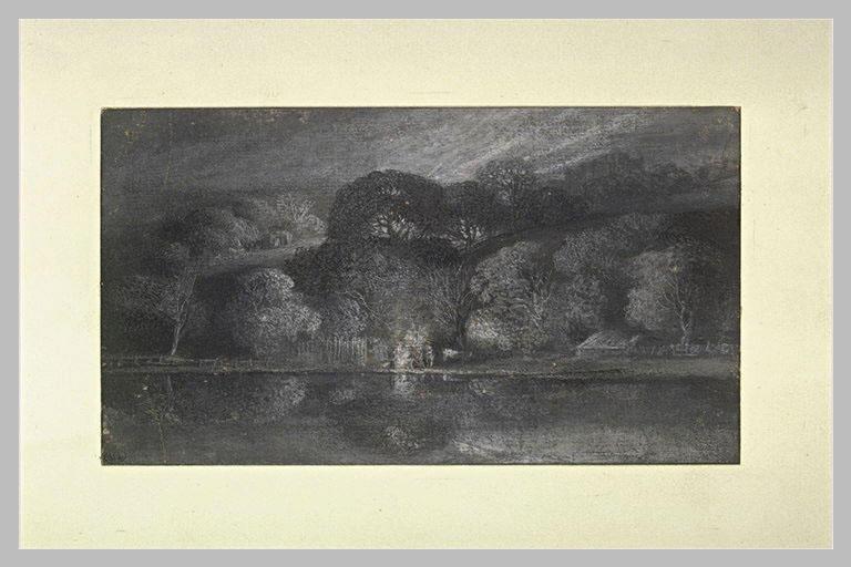 Paysage de nuit, avec des arbres et des maisons au bord de l'eau