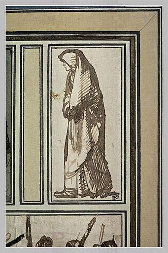 Une vieille femme couverte d'un long voile