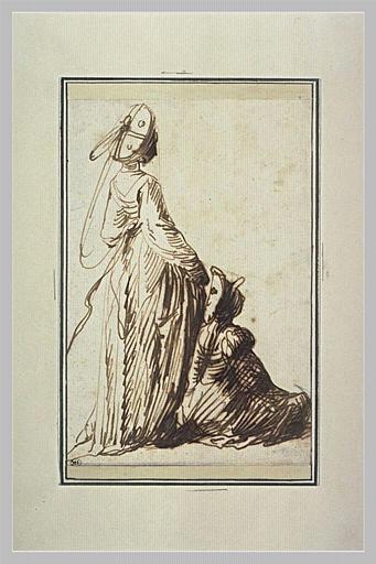 Deux jeunes femmes, l'une debout, l'autre assise à ses pieds