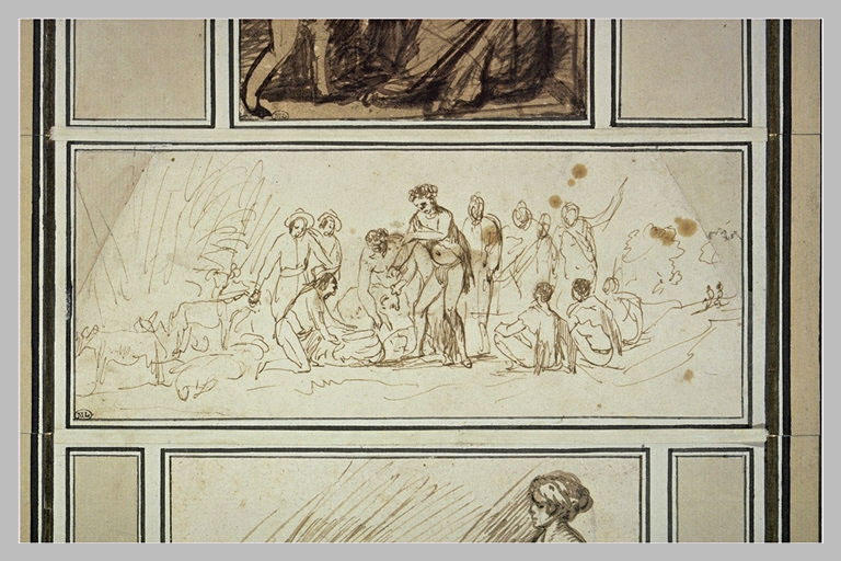 Groupe de douze hommes avec des brebis