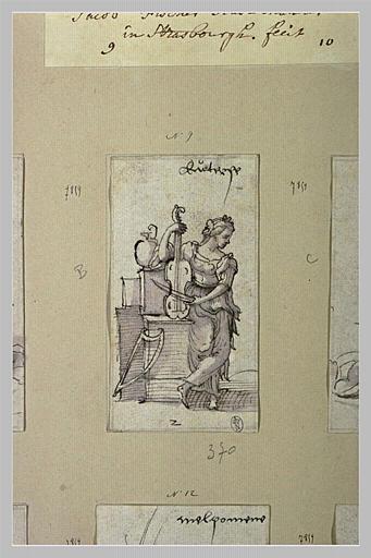 Euterpe, muse de la Poésie bacchique, jouant du violoncelle