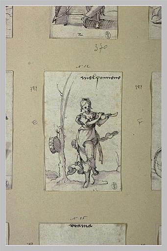 Melpomène, muse de la Tragedie, jouant de la flûte