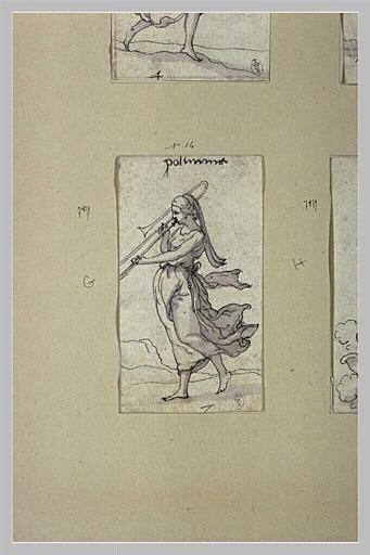 Polymnie, ici muse des Hymnes aux Dieux, jouant du trombone