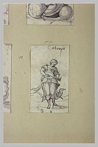 Calliope, muse de l'Eloquence et de la Science, pinçant du luth