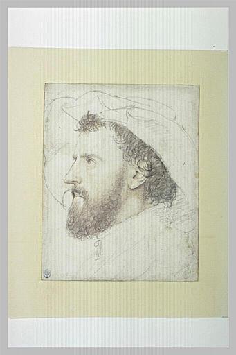 Portrait d'homme en buste, coiffé d'un chapeau à larges bords