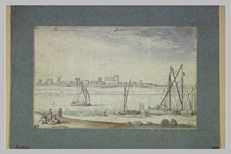 Bateaux et figures sur la berge, le Rhin et la ville de Bürick