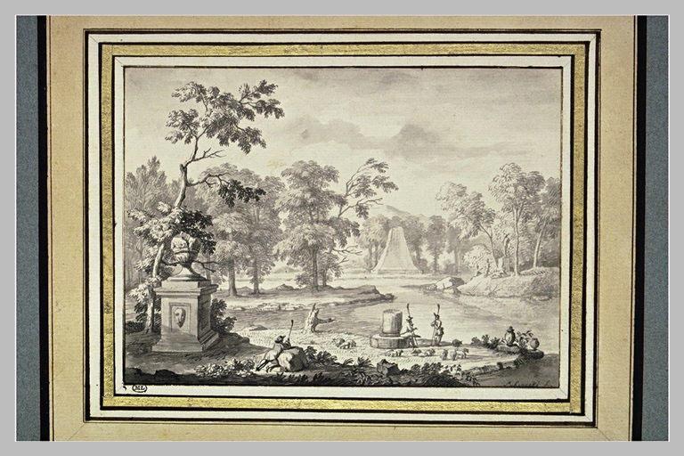Paysage avec des bergers, deux monuments, un lac