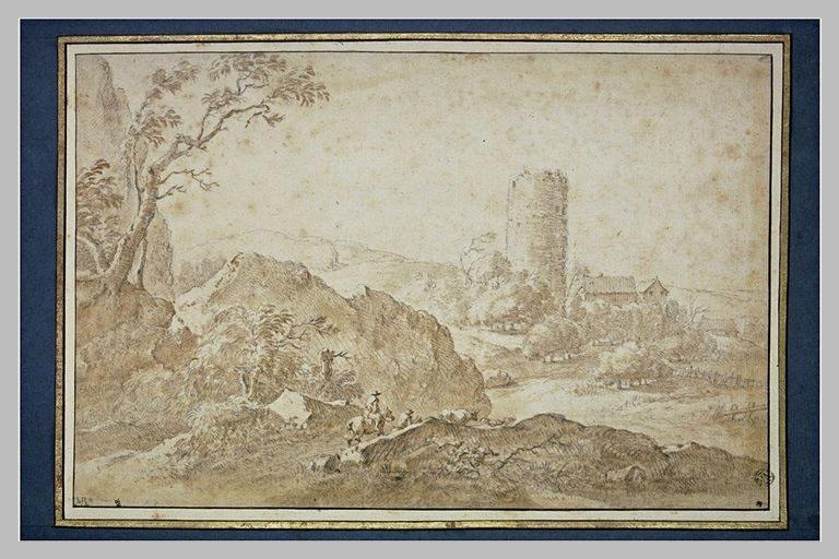 Paysage avec une tour ronde en ruines, deux hommes à cheval et du bétail