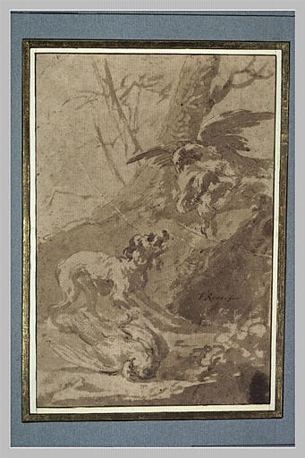 Paysage avec un aigle attaquant deux poules