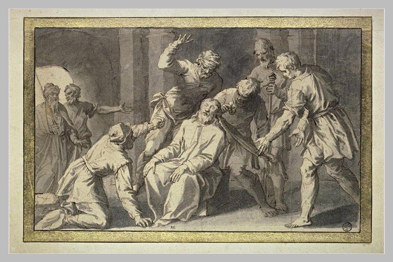 Dérision du Christ bafoué : les gardiens lui bandent les yeux et le frappent