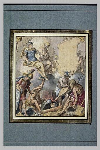 Vulcain forgeant les armes d'Achille, en présence de Mercure, Neptune, Mars