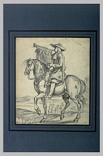 Un cavalier jouant de la trompette