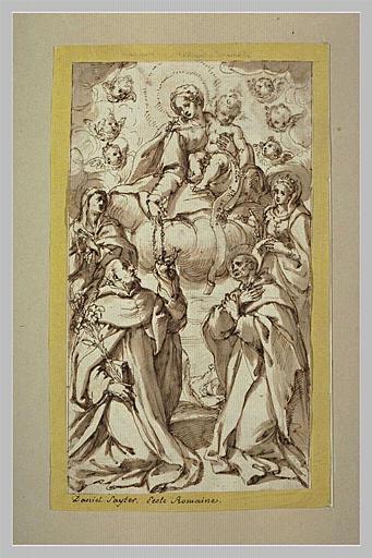 La Vierge donnant un rosaire à saint Dominique